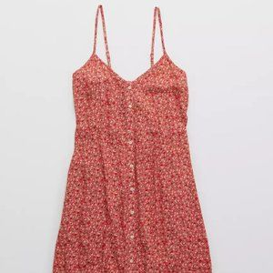 NWT Aerie Button Front Mini Dress in 'Calypso Red'